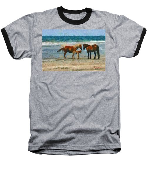 Wild Horses Of The Outer Banks Baseball T-Shirt by Lynne Jenkins