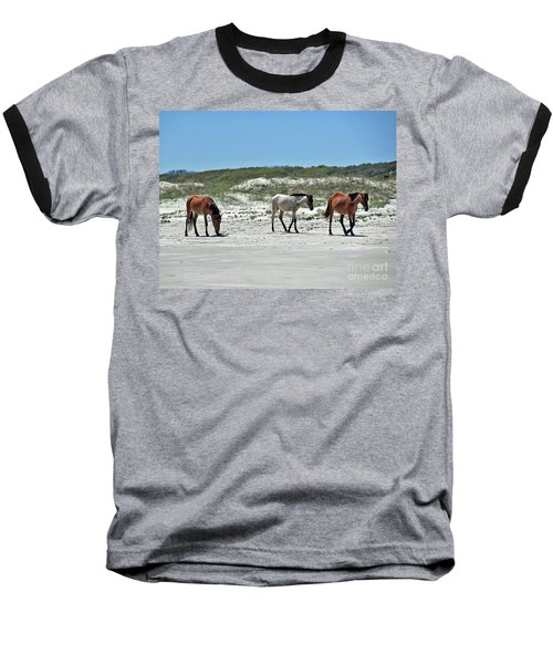Wild Horses On The Beach Baseball T-Shirt