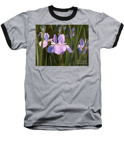 Baseball T-Shirt featuring the painting Wild Iris by Laurie Rohner