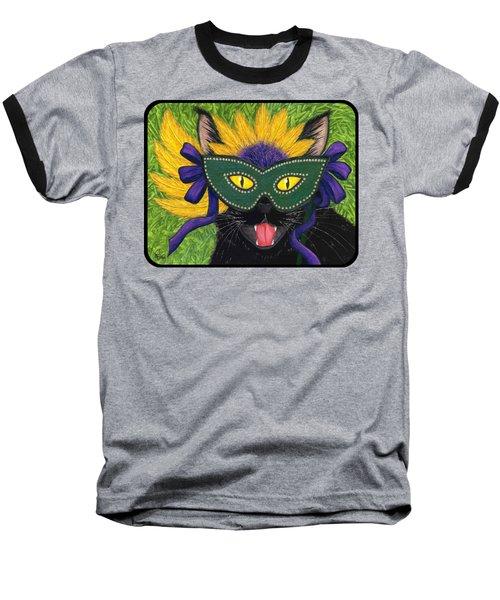 Wild Mardi Gras Cat Baseball T-Shirt