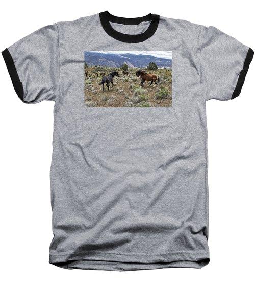 Wild Mustang Stallions Fighting Baseball T-Shirt
