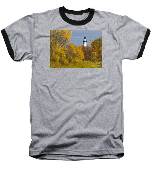 Wind Point Lighthouse In Fall Baseball T-Shirt by Ricky L Jones