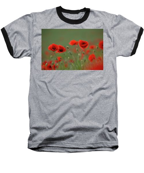 Wild Poppies Baseball T-Shirt