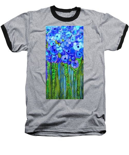 Baseball T-Shirt featuring the mixed media Wild Poppy Garden - Blue by Carol Cavalaris