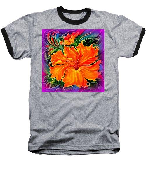 Wild Purple Hibiscus Baseball T-Shirt by Yolanda Rodriguez