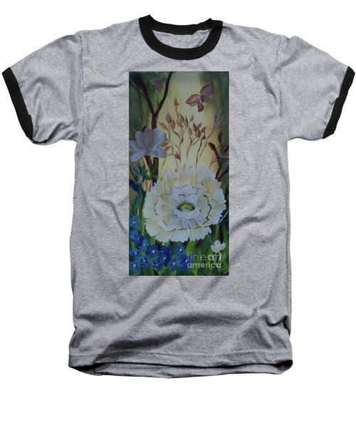 Wild Rose In The Forest Baseball T-Shirt by Donna Brown