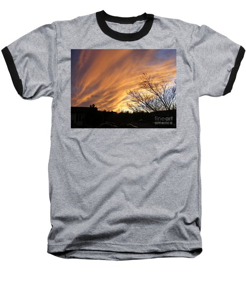Baseball T-Shirt featuring the photograph Wild Sky Of Autumn by Barbara Griffin
