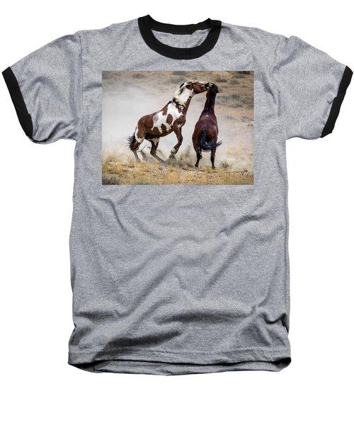 Wild Stallion Battle - Picasso And Dragon Baseball T-Shirt by Nadja Rider