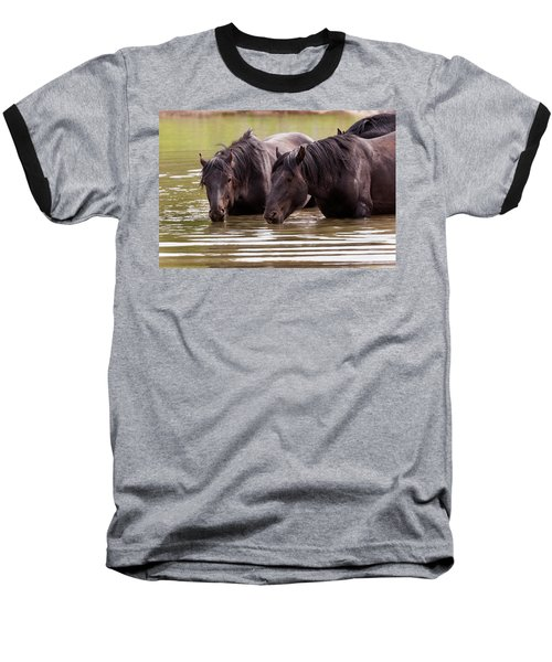 Wild Stallions At The Water Hole Baseball T-Shirt