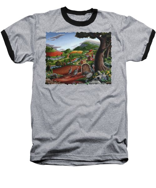 Wild Turkeys Appalachian Thanksgiving Landscape - Childhood Memories - Country Life - Americana Baseball T-Shirt
