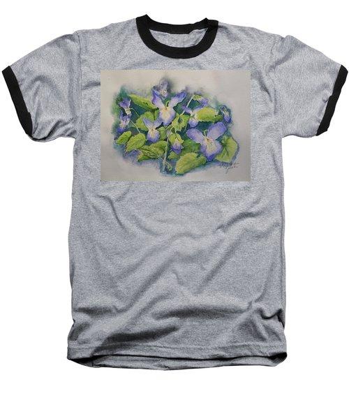 Wild Violets Baseball T-Shirt by Marilyn Zalatan