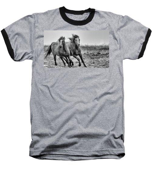 Wild West Wild Horses Baseball T-Shirt by Kelly Marquardt