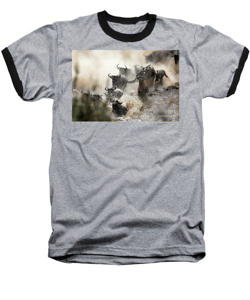 Wildebeest Herd Crossing The Mara River Baseball T-Shirt