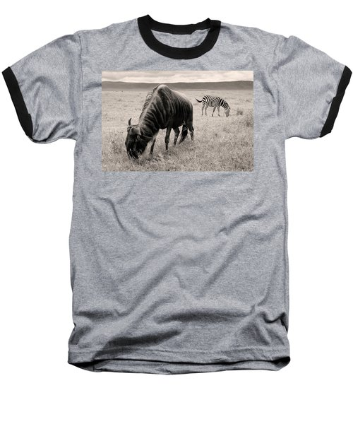 Wildebeest And Zebra Baseball T-Shirt