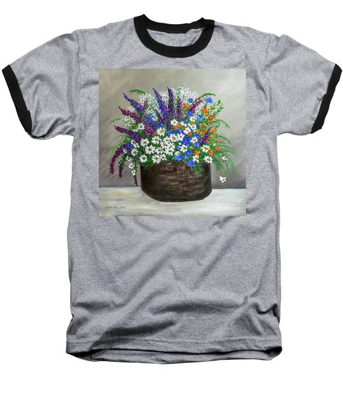 Wildflower Basket Acrylic Painting A61318 Baseball T-Shirt
