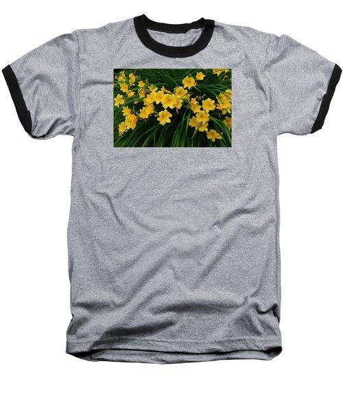 Wildflower Bouquet Baseball T-Shirt by Linda Edgecomb