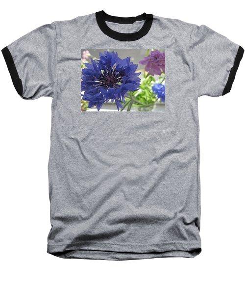 Wildflower Fluff Baseball T-Shirt by Barbara McDevitt