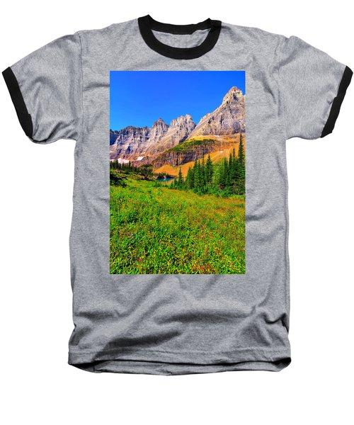 Wildflower Meadow Beneath The Ptarmigan Wall Baseball T-Shirt by Greg Norrell