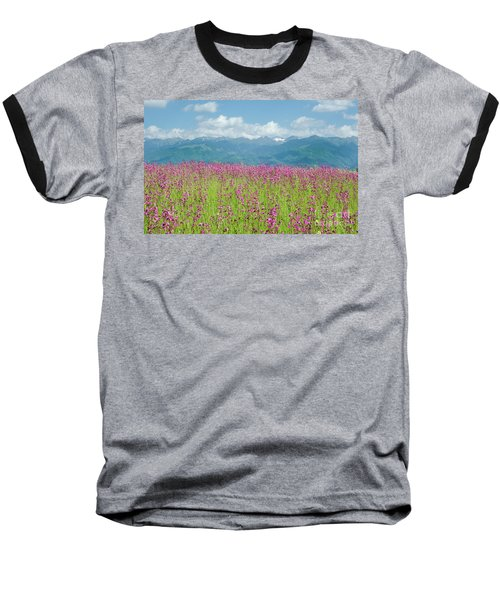 Baseball T-Shirt featuring the photograph Wildflower Meadows And The Carpathian Mountains, Romania by Perry Rodriguez