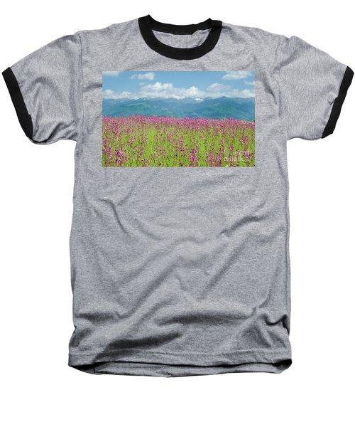 Wildflower Meadows And The Carpathian Mountains, Romania Baseball T-Shirt