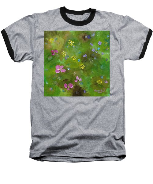 Baseball T-Shirt featuring the painting Wildflower Support by Judith Rhue
