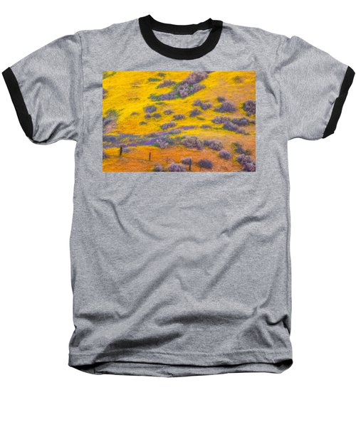 Wildflowers And Fence Baseball T-Shirt by Marc Crumpler