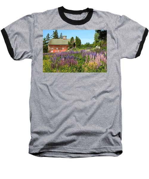 Baseball T-Shirt featuring the photograph Wildflowers And Red Barn by Roupen  Baker