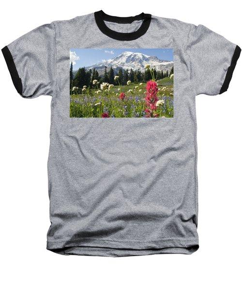 Wildflowers In Mount Rainier National Baseball T-Shirt