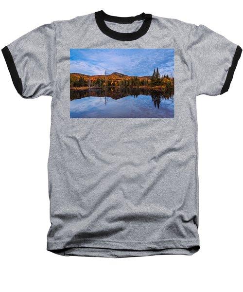 Wildlife Pond Autumn Reflection Baseball T-Shirt