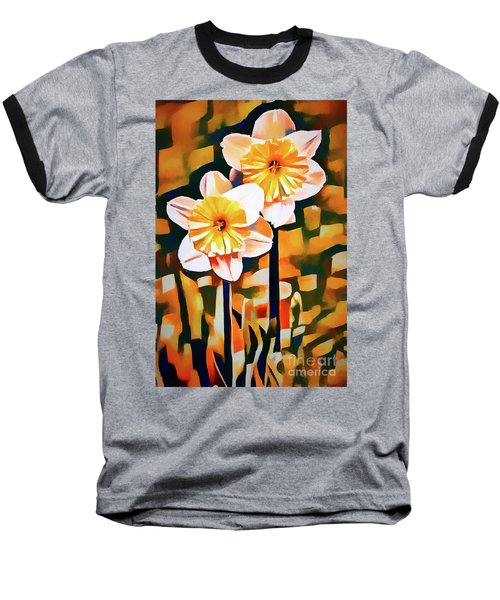 Wildly Abstract Daffodil Pair Baseball T-Shirt