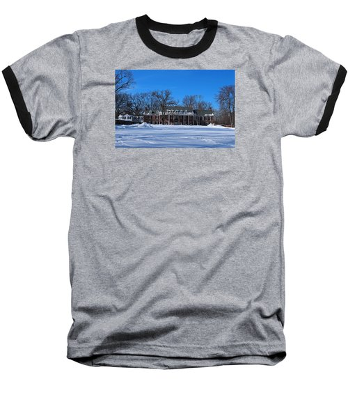 Baseball T-Shirt featuring the photograph Wildwood Manor House In The Winter by Michiale Schneider