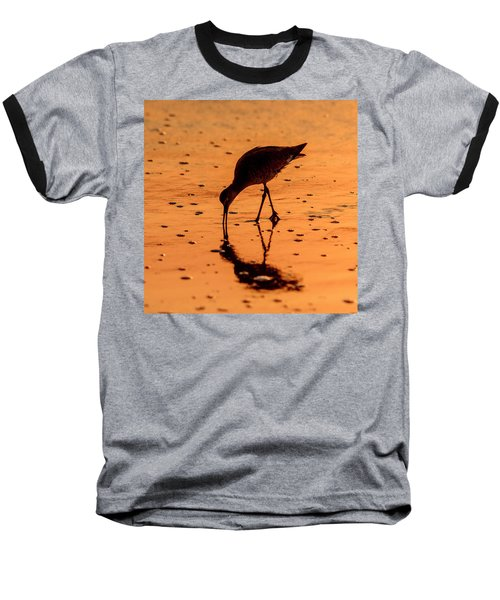 Baseball T-Shirt featuring the photograph Willet On Sunrise Surf by Steven Sparks