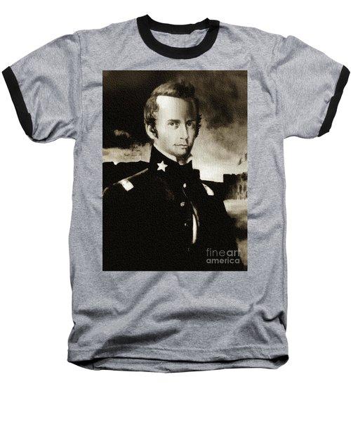 William B Travis - The Alamo Baseball T-Shirt by Ian Gledhill