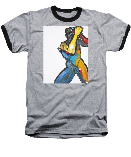 Baseball T-Shirt featuring the painting William Flynn Upper Cut by Shungaboy X