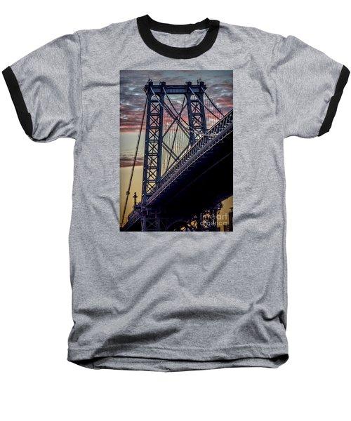 Williamsburg Bridge Structure Baseball T-Shirt by James Aiken