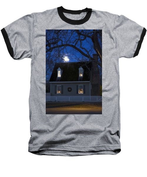 Williamsburg House In Moonlight Baseball T-Shirt by Sally Weigand