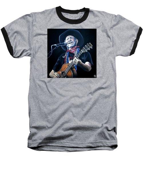 Willie Nelson 2 Baseball T-Shirt by Tom Carlton