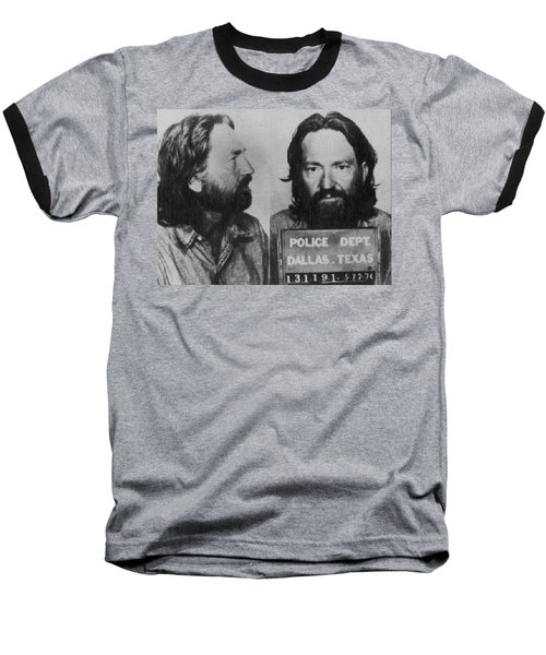 Willie Nelson Mug Shot Horizontal Black And White Baseball T-Shirt