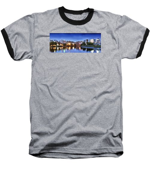 Wilmington Delaware - Skyline At Dusk Baseball T-Shirt by Brendan Reals