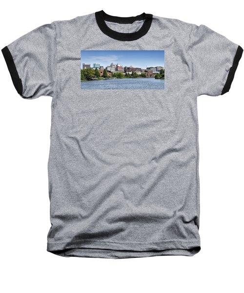 Wilmington Delaware Skyline Baseball T-Shirt by Brendan Reals