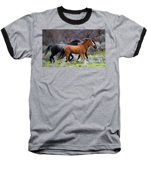 Baseball T-Shirt featuring the photograph Wind In The Manes by Mike Dawson