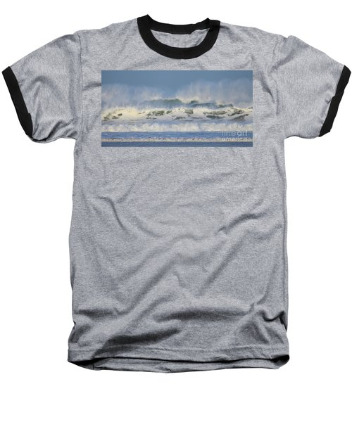 Baseball T-Shirt featuring the photograph Wind Swept Waves by Nicholas Burningham