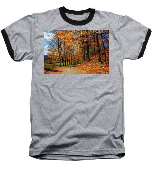 Winding Country Road In Autumn Baseball T-Shirt