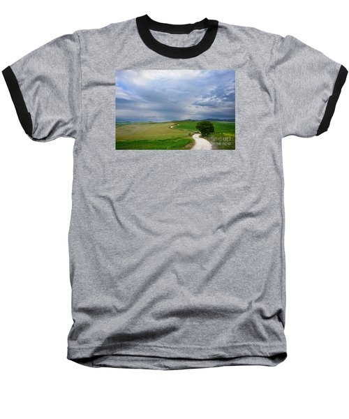 Winding Road To A Destination In A Tuscany Landscape Baseball T-Shirt