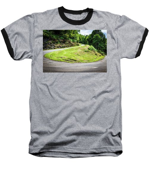Winding Road With Sharp Bend Going Up The Mountain Baseball T-Shirt by Semmick Photo
