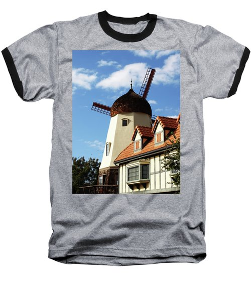 Windmill At Solvang, California Baseball T-Shirt