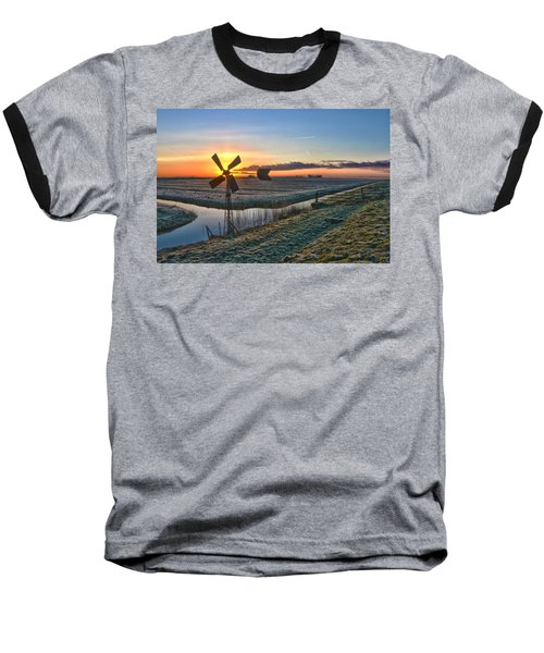 Windmill At Sunrise Baseball T-Shirt