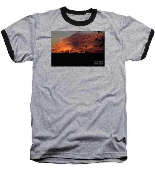 Baseball T-Shirt featuring the photograph Windmill At Sunset by Mark McReynolds
