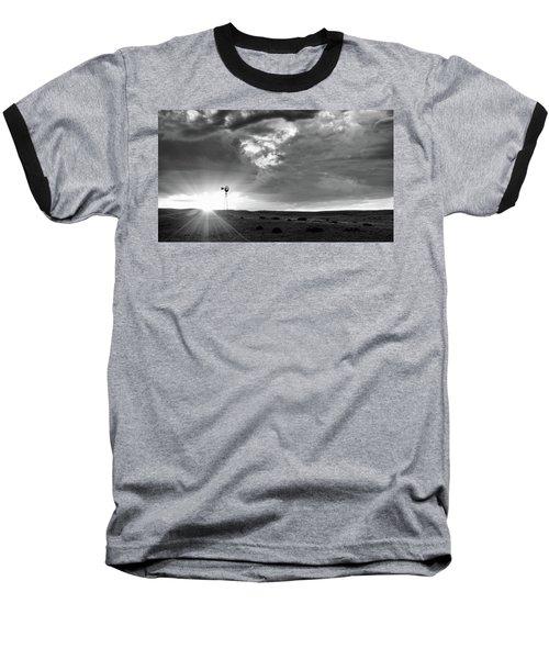 Windmill At Sunset Baseball T-Shirt by Monte Stevens