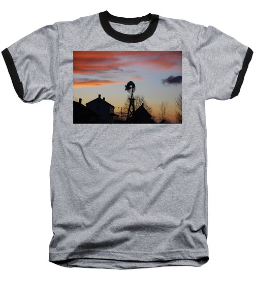 Windmill Sunset Baseball T-Shirt